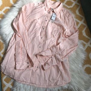 NWT express boyfriend button up size S